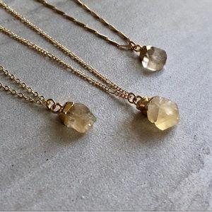 Raw Lemon Topaz 14K gold necklace